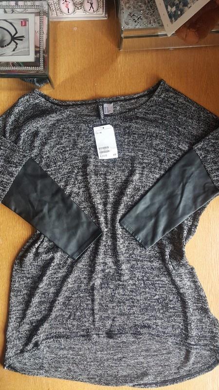Nowy sweter h&m skorzane rekawy s...