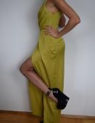 Śliczna długa oliwkowa suknia...