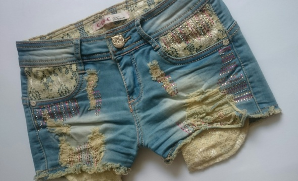 Spodenki Szorty jeansowe dziury XS S Hit lata