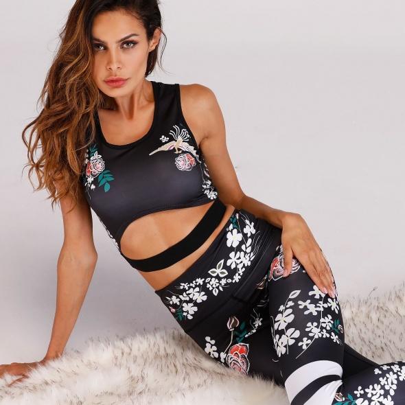 Komplet treningowy fitness na siłownię jogę liście s m l legginsy top