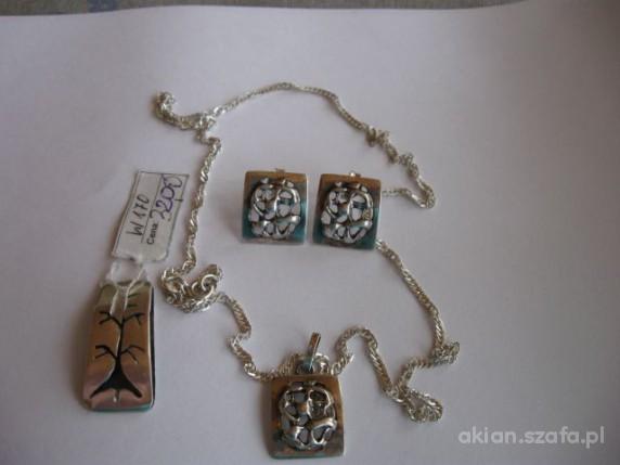 Koplet srebrny zawieszka i kolczyki