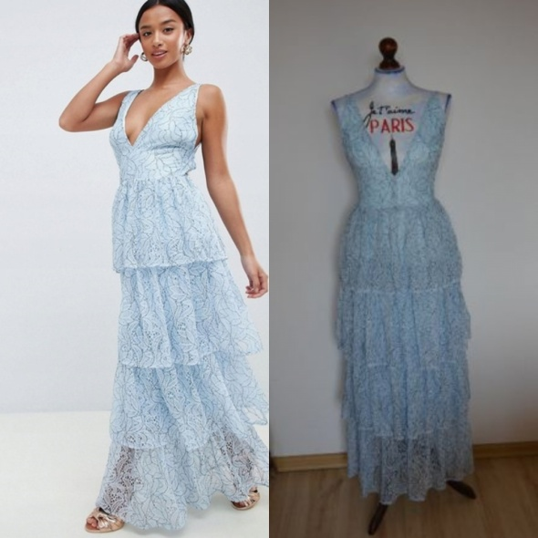 sukienka Missguided Petite Lace Tiered Maxi