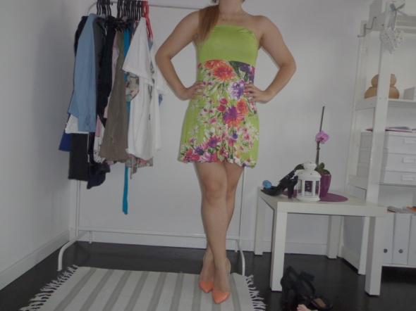 tunika sukienka Echo bombka zielona kwiaty kwiatki...