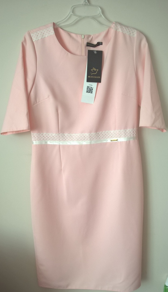 sukienka pudrowa różowa wesele elegancka 40 L hit