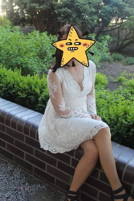 koronkowa biała sukienka S