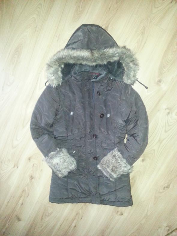 Damski brązowy płaszcz na zimę rozm S M ocieplany