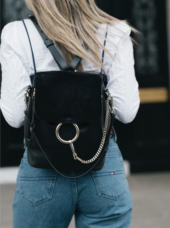Czarny elegancki plecak CHLOE złoty pierścień koło circle