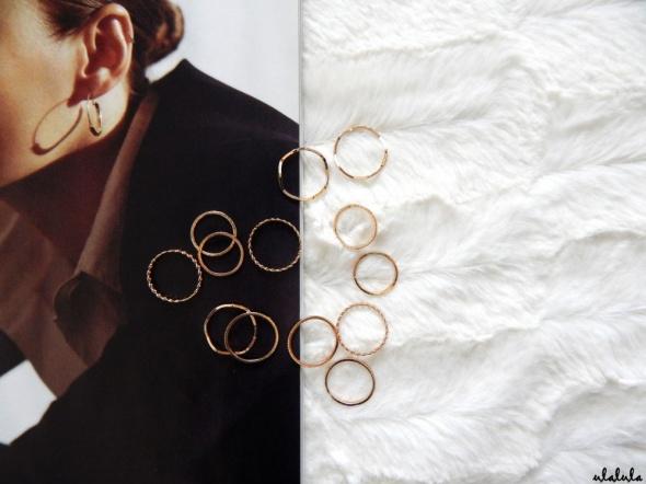 H&M zestaw 14 minimalistycznych złotych pierścionków obrączki knuckle rings
