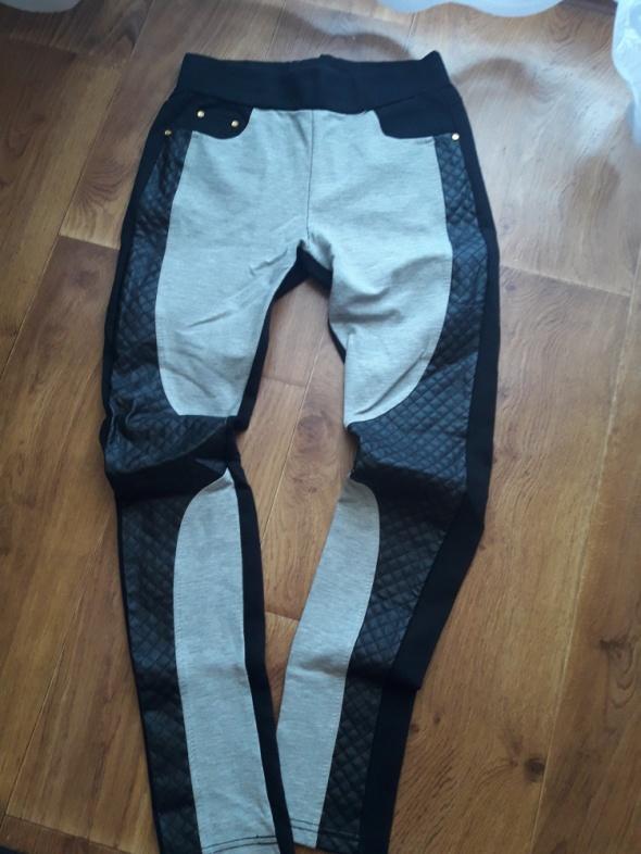 sliczne spodnie wstawki eco skora