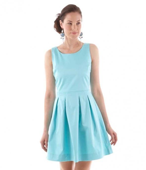 Suknie i sukienki Camaieu sukienka rozkloszowana błękit