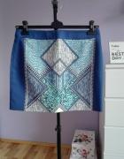H&M niebieska spódnica azteckie wzory geometryczne L 40...