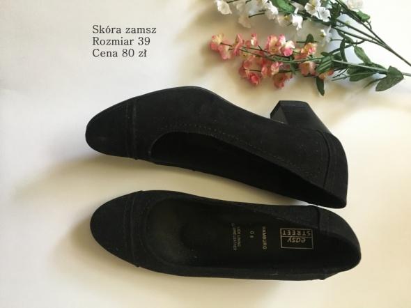 Czółenka Czarne czółenka zamsz skórzane buty na obcasie 39
