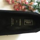 Czarne czółenka zamsz skórzane buty na obcasie 39