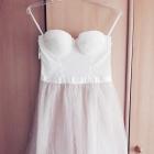 Sukienka wesele koronka tiul S M kremowa pudrowa