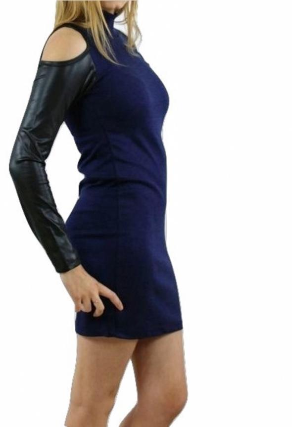 Suknie i sukienki Nowa sukienka odkryte ramiona eko skórka sylwester randka M L XL