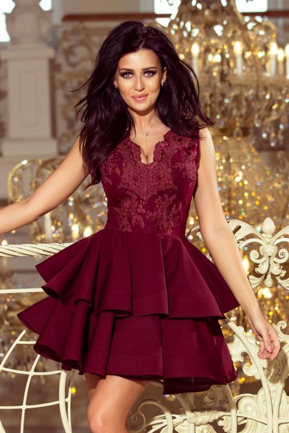 dfcad3cea1ef1e Suknie i sukienki Charlotte sukienka koronkowa bordowa XS S M L XL falbany