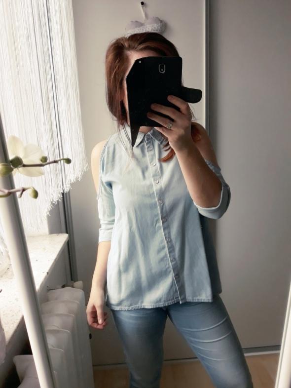 Jeansowa koszula odsłonięte ramiona