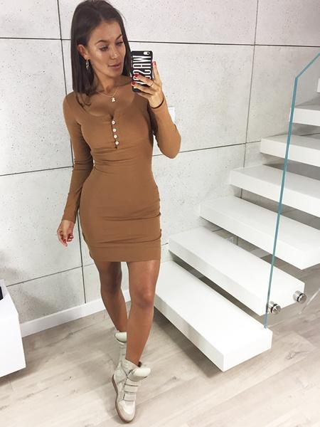 Beżowa sukienka prążek NOWA XS S