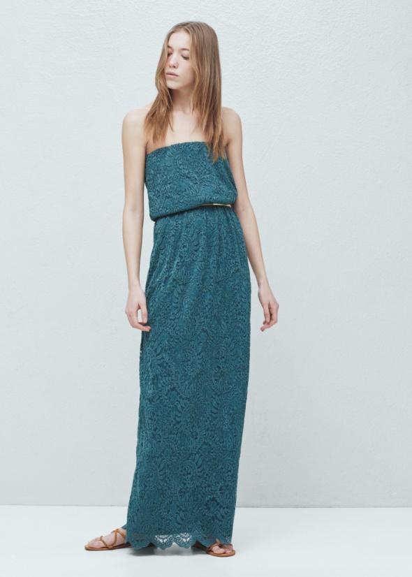 Granatowa koronkowa maxi sukienka Mango