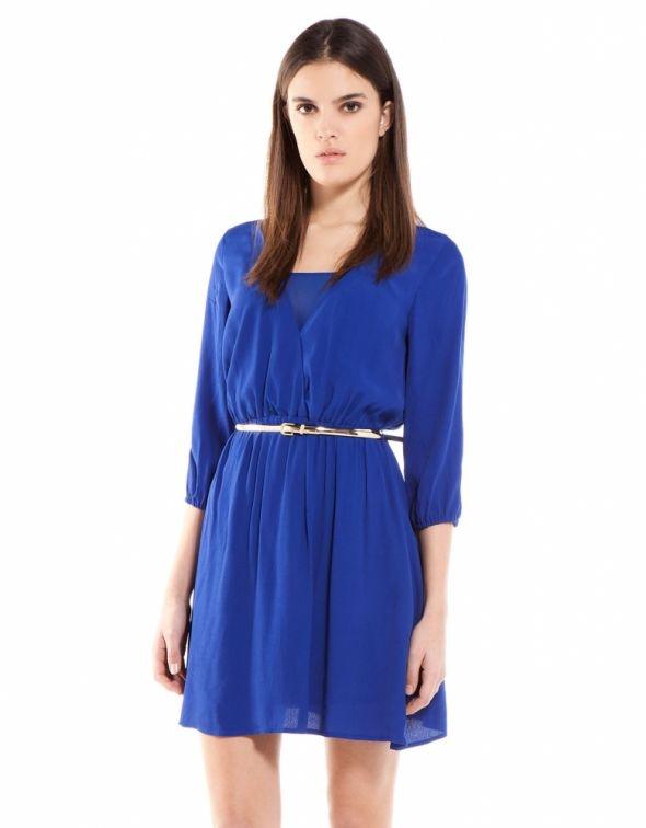 Niebieska sukienka mgiełka Bershka S M