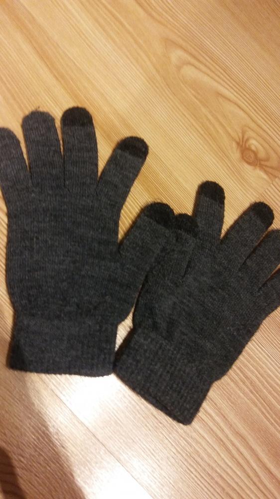 szare rękawiczki z opuszkami do telefonów dotykowych