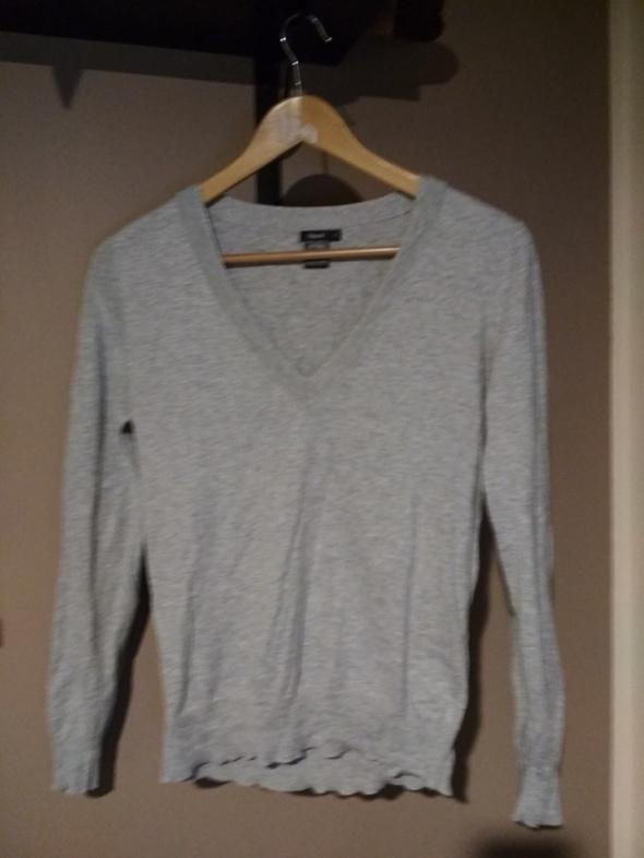 Sweterek szary kardigan S cienki materiał łaty na łokciach...