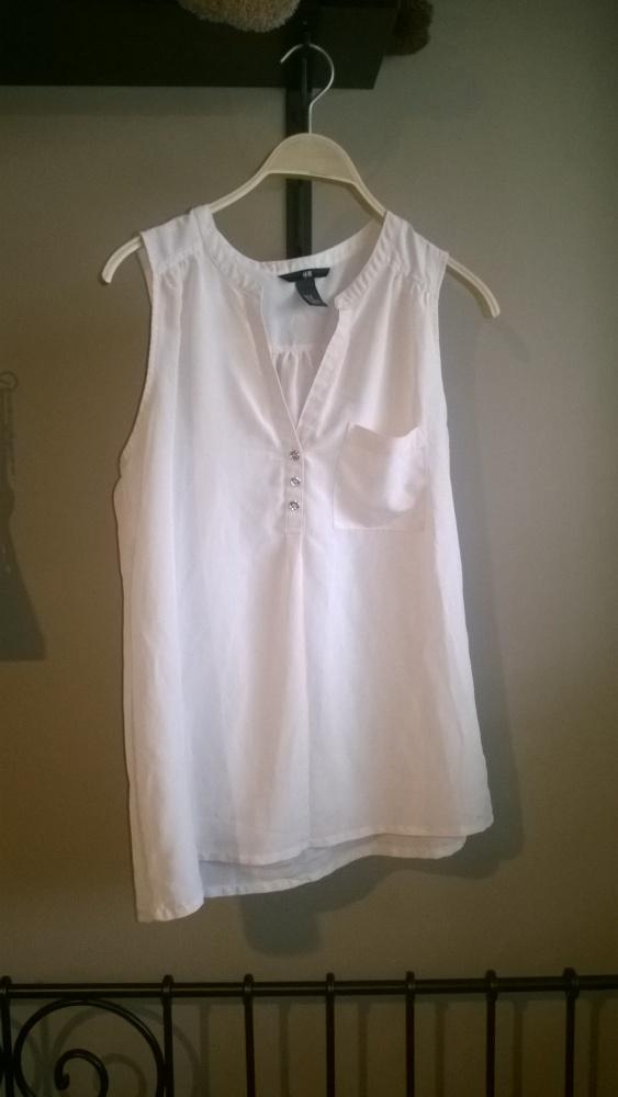 Bluzka koszua bez rękawów HM ecru kość słoniowa