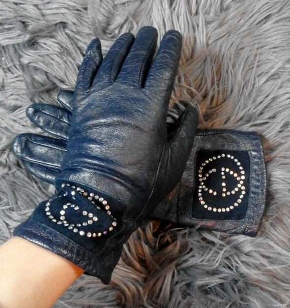 Granatowe rękawiczki z ekoskóry z diamencikami