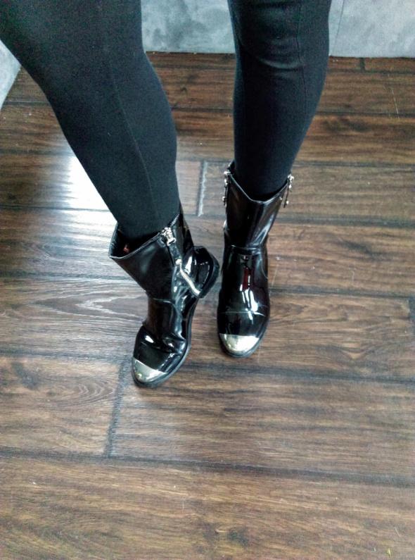Buty zimowe czarne lakierowane z blaszanym noskiem big star 36...