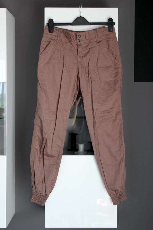 brązowe spodnie baggy bagy luźne lato letnie cienkie zwiewne