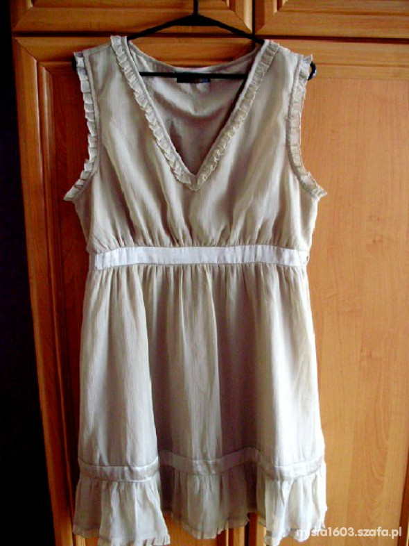 Sukienka ASOS beżowa falbanka lekka śliczna 40