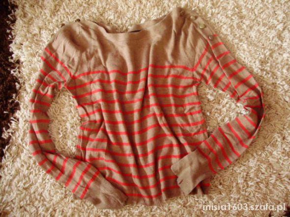 Sweterek oversize paski Topshop guziki 36