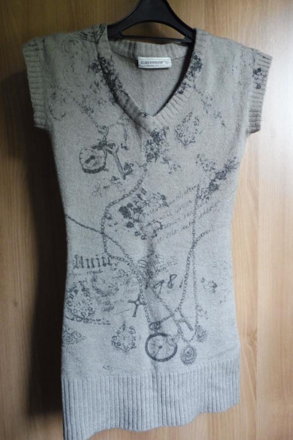Sweterek tunika bezrękawnik szary Clockhouse R36...