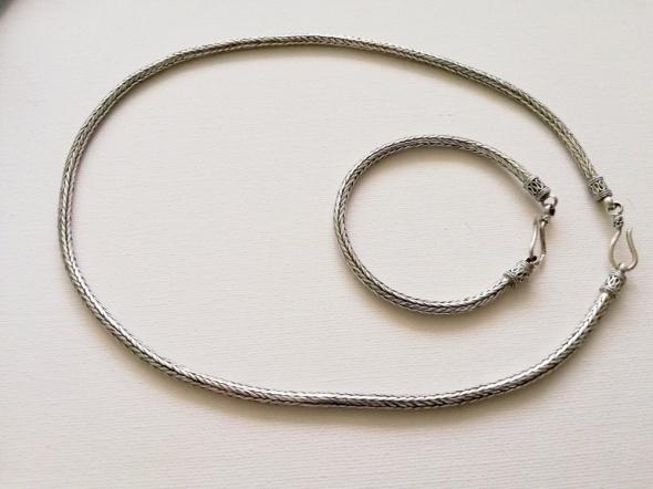 58 g Komplet ze srebra naszyjnik i bransoleta 925...