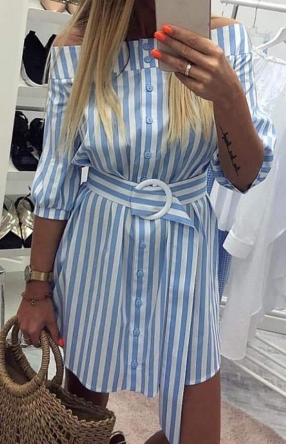 Marynarska sukienka w paski m l xl