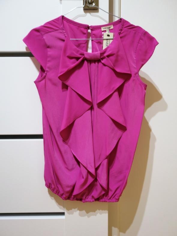 RIVER ISLAND S 36 różowa bluzka kokarda żabot...