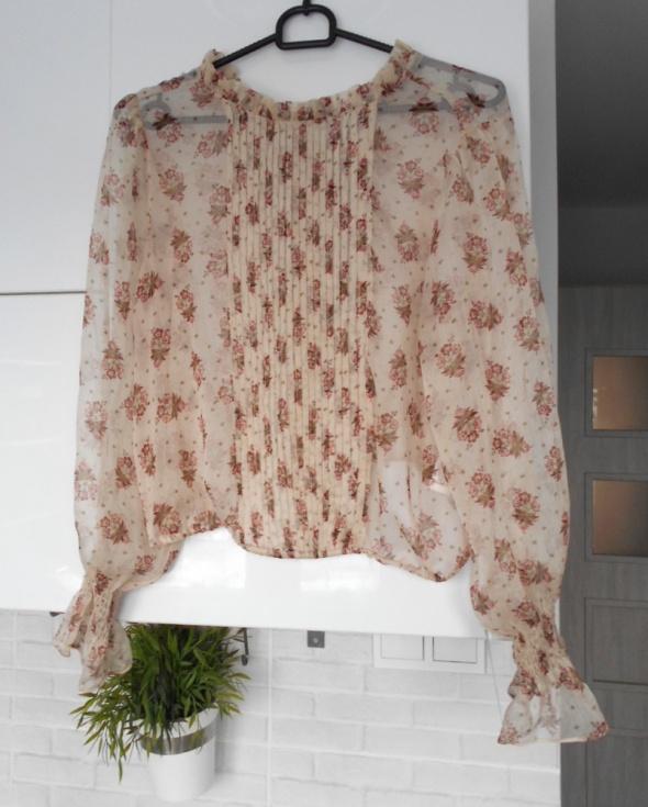 Zara nowa bluzka mgiełka kwiaty floral nude...