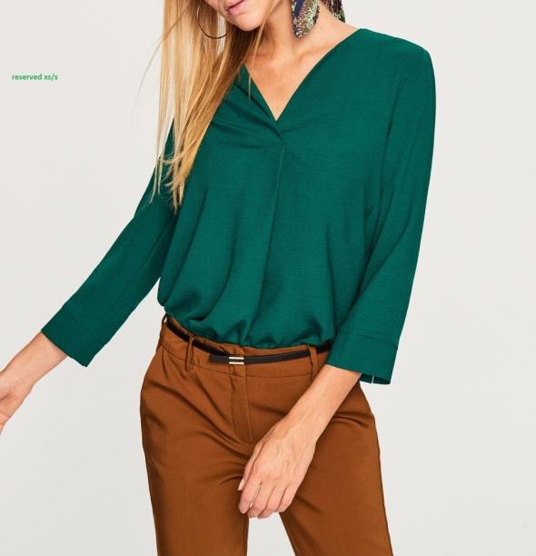 Elegancka bluzka reserved butelkowa zieleń xs s