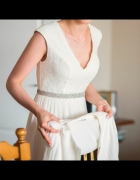 lasyczna i skromna suknia ślubna S lub małe M muślin i koronka...