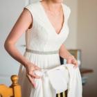 lasyczna i skromna suknia ślubna S lub małe M muślin i koronka