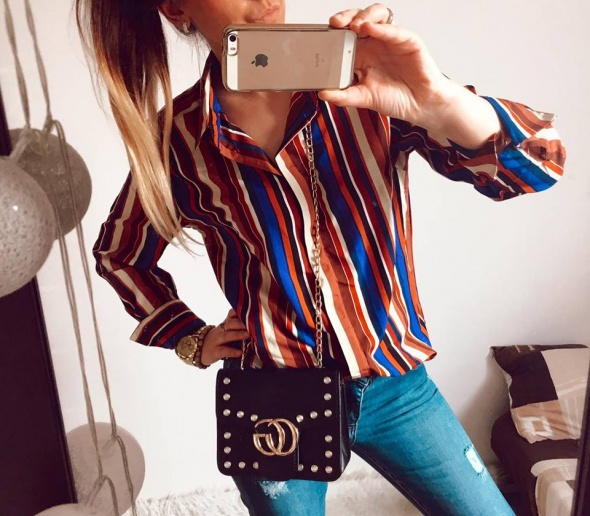 Koszula Damska w paski elegancka M