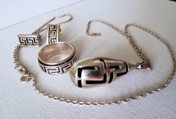 25g Komplet biżuterii srebro 925 wzór grecki