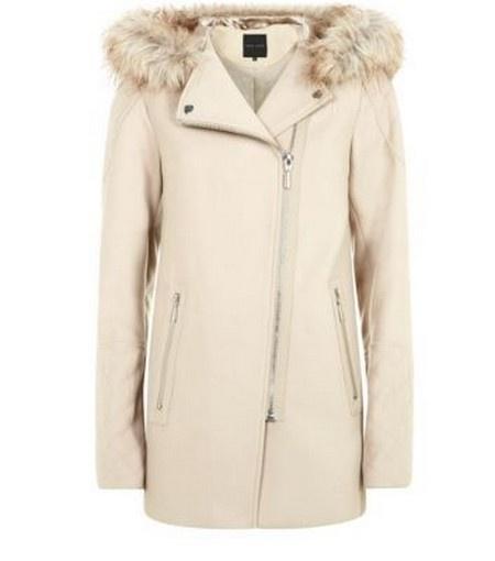 Beżowy płaszcz z kapturem New Look 10 zamek futerko ramoneska