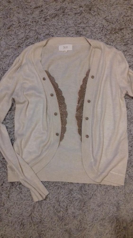 78031020d29ec Beżowy sweterek ze skórzaną koronką rozm S M cena z wysyłką w Swetry ...