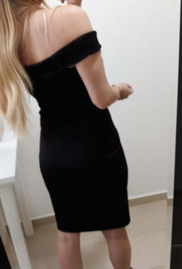 Blue inc sukienka czarna dopasowana midi hiszpanka odkryte ramiona L