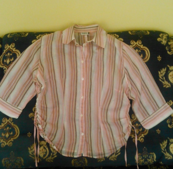 Koszula w paski taliowana ściągana trokami po bokach...