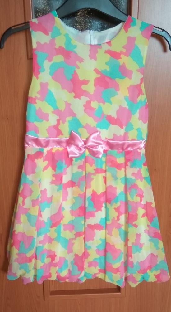 f2fec7f684 Sukienki i spódniczki Nowa sukienka kolorowa bombka z kokardką szyfonowa  wyjściowa 152