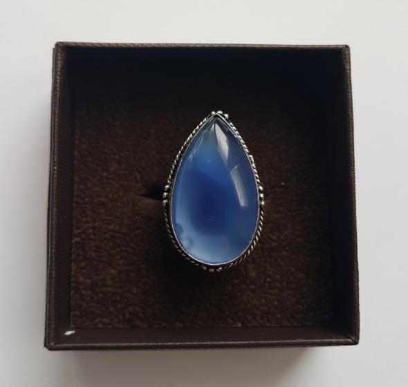 Nowy pierścionek vintage chalcedon niebieski 14