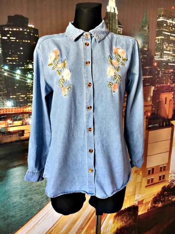 Koszule boohoo koszula jeans modny haft kwiaty jak nowa hit 38 M