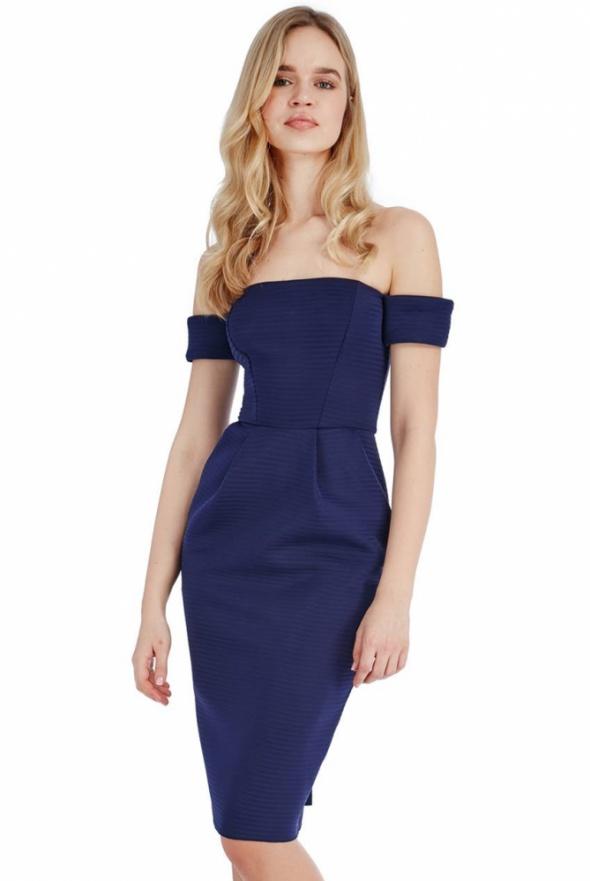 Granatowa ołówkowa sukienka z kieszeniami